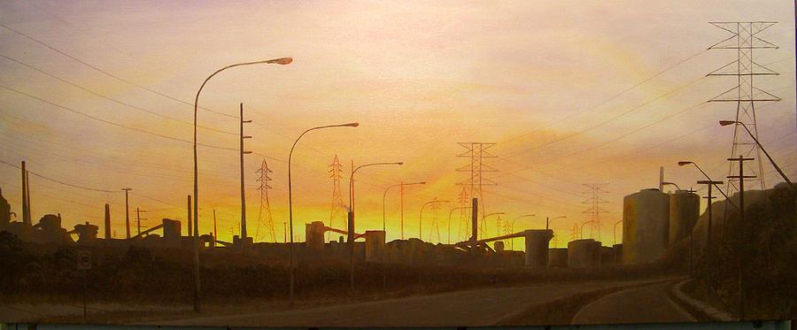Landscape Painting - Early Start Port Kembla by Brett McGrath
