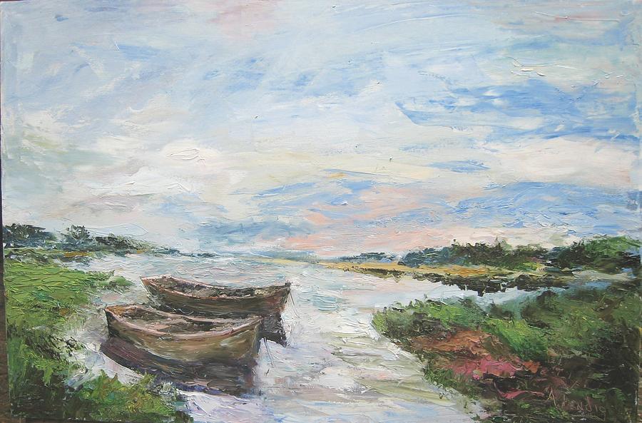 Coastal Landscape Painting - Early Tide by Albert Fendig