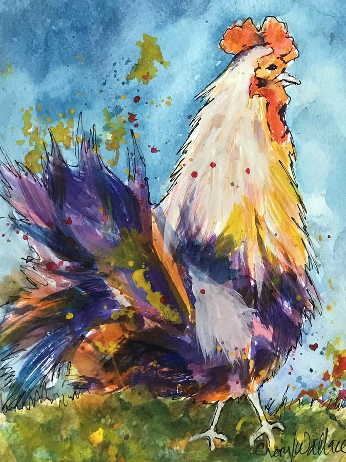 Rooster Painting - Early to Rise by Cheryl Wallace