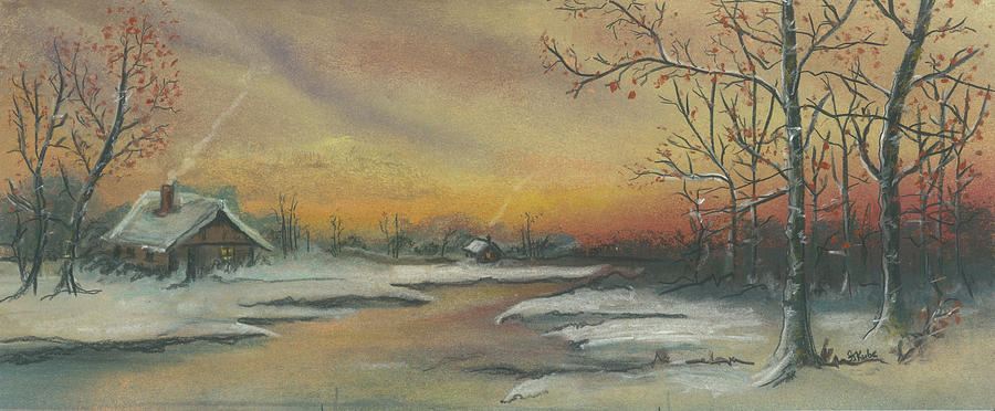 Winter Scene Pastel - Early Winter by Shelby Kube