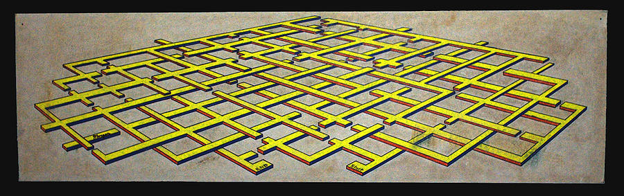 Maze Drawing - Early Work 3d Maze by Morgan Rex