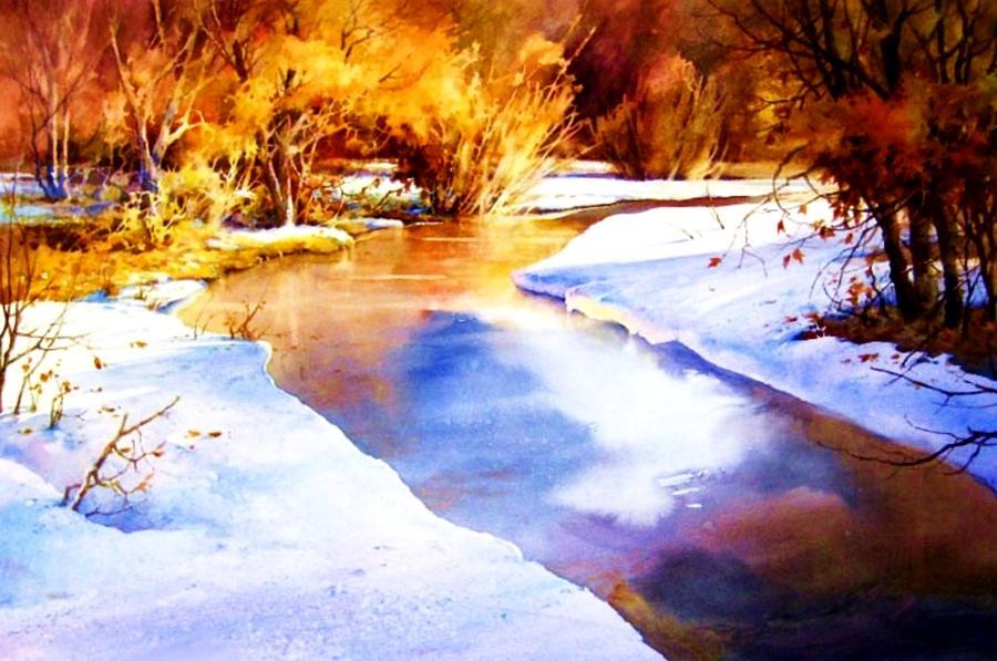 Creek Painting - Early Wyoming Snow by Joseph Barani
