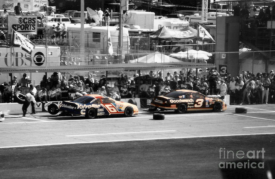 Mark Martin Photograph - Earnhardt And Martin In The Pits by John Black