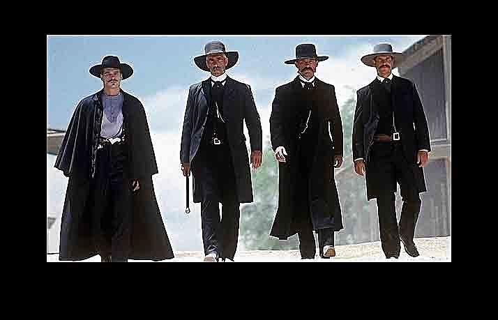 Earp Brothers And Doc Holliday Approaching Ok Corral Tombstone