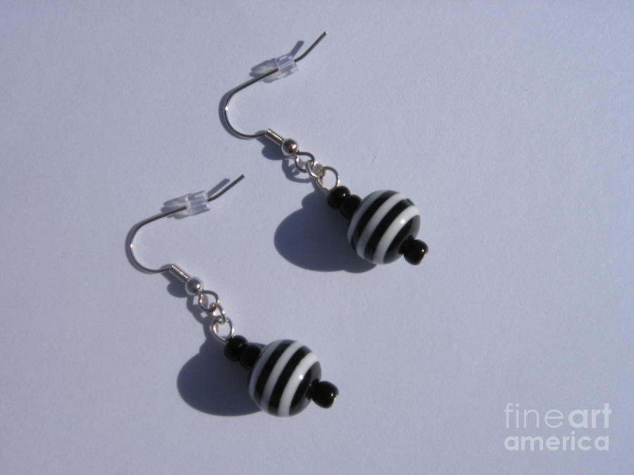 Earrings Jewelry - Earrings Black And White Striped by Loretta Childs