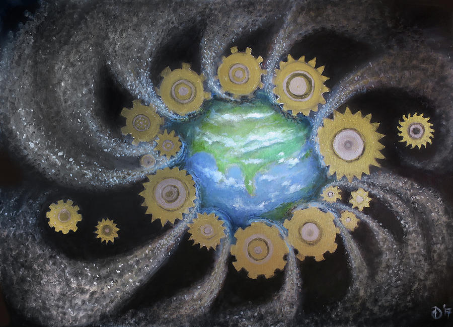 Dystopia Painting - Earth #1 - You Are Here by David Diethelm
