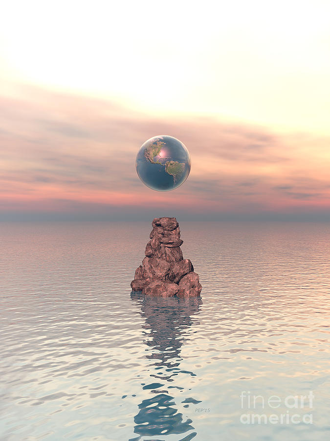 Earth Digital Art - Earth Above The Sea by Phil Perkins