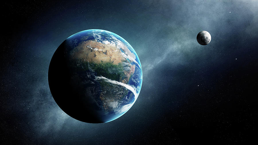 Earth Digital Art - Earth and moon space view by Johan Swanepoel