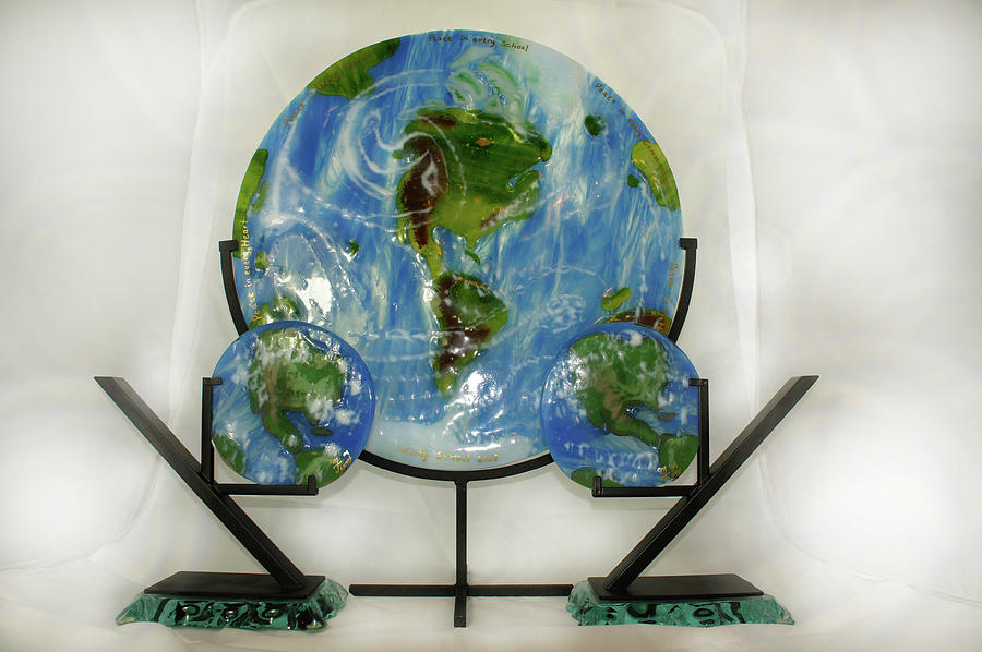 Sculpture Glass Art - Earth Bookends by Michelle Ferry