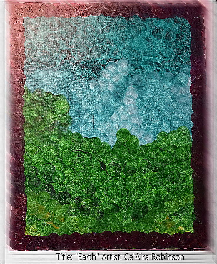 Green Painting - Earth by Ceaira Robinson