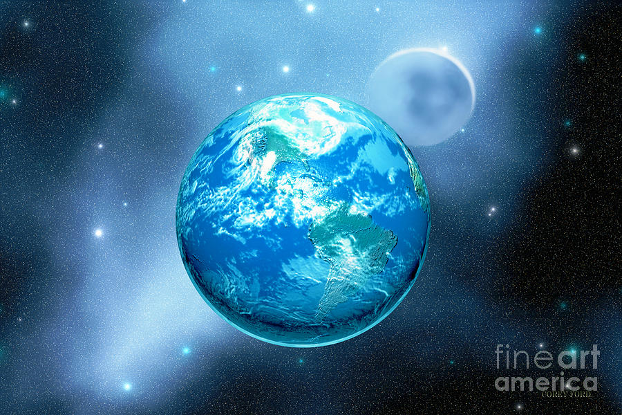 America Painting - Earth by Corey Ford