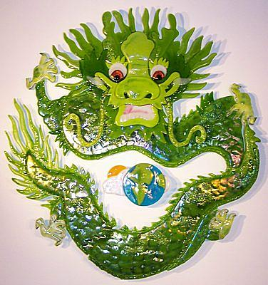 Glass Glass Art - Earth Dragon Circle by Michelle Rial