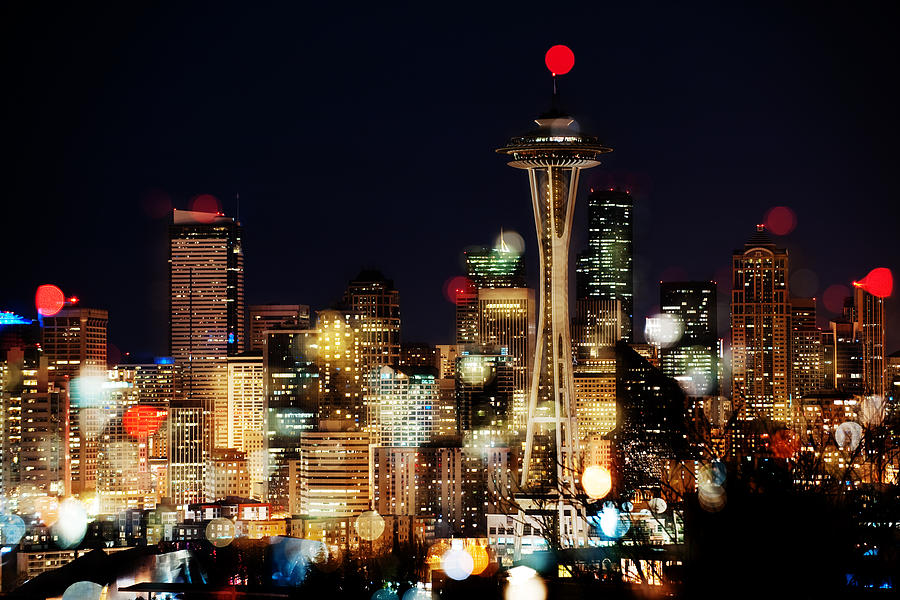 Seattle Photograph - Earth Hour Spots A354 by Yoshiki Nakamura