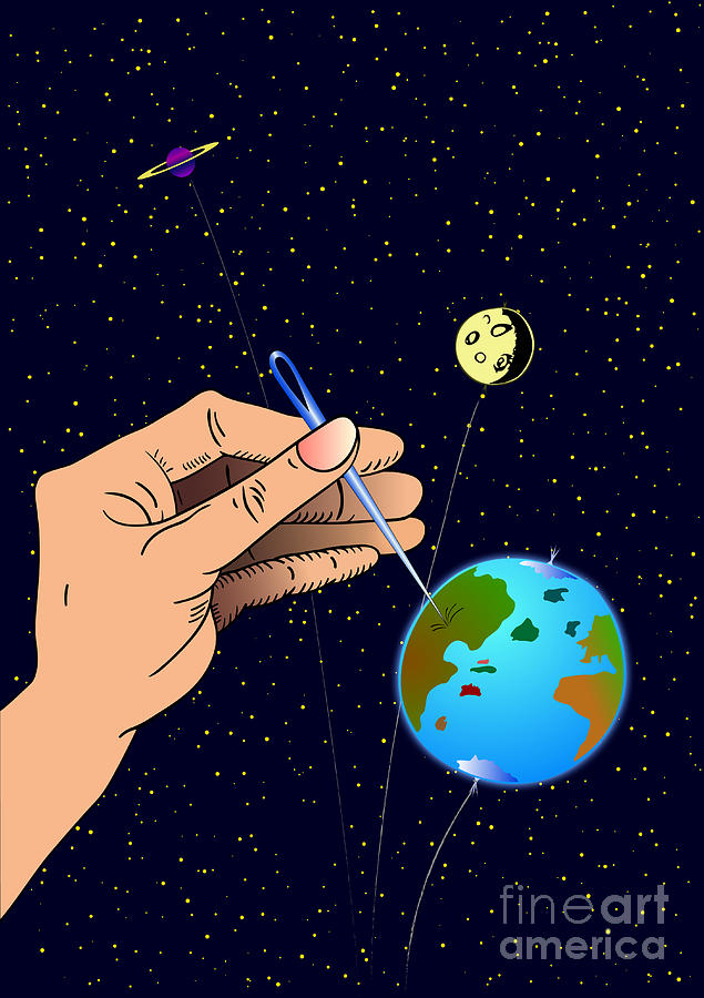 Ironic Digital Art - Earth Like An Inflatable Balloon by Michal Boubin
