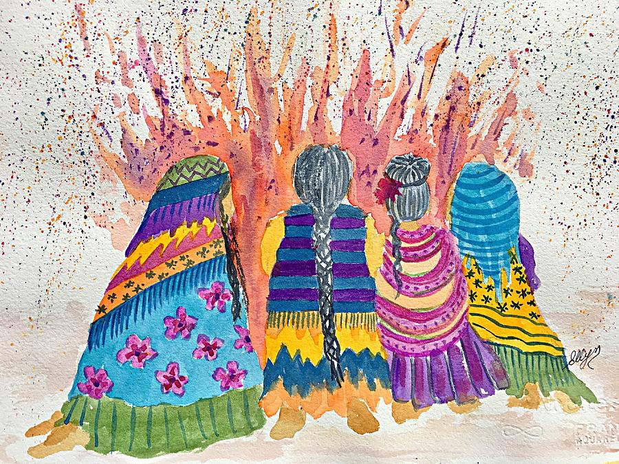Earth Mothers Painting - Earth Mothers - Feeding  The Fire by Ellen Levinson