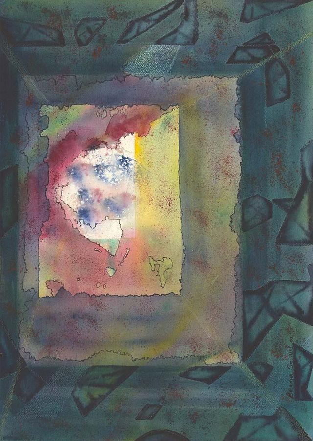 Abstract Painting - Earth Passing By My Window by Beena Samuel