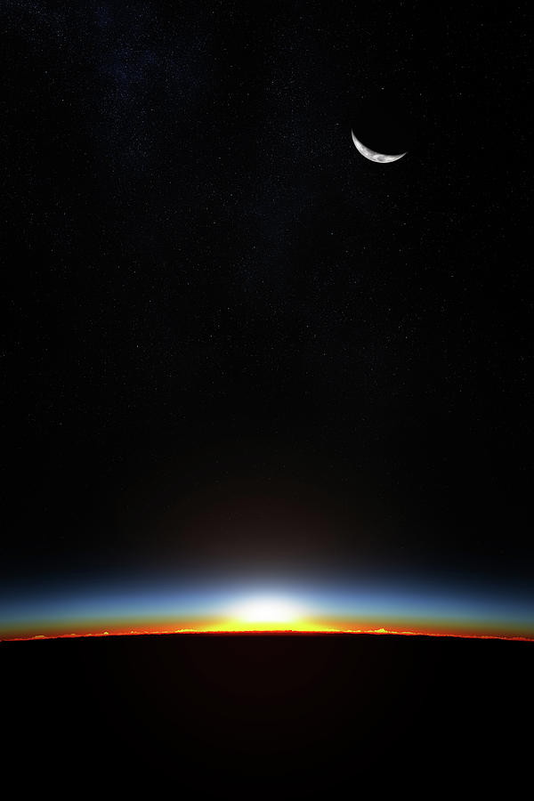 Earth Sunrise Through Atmoshere Photograph