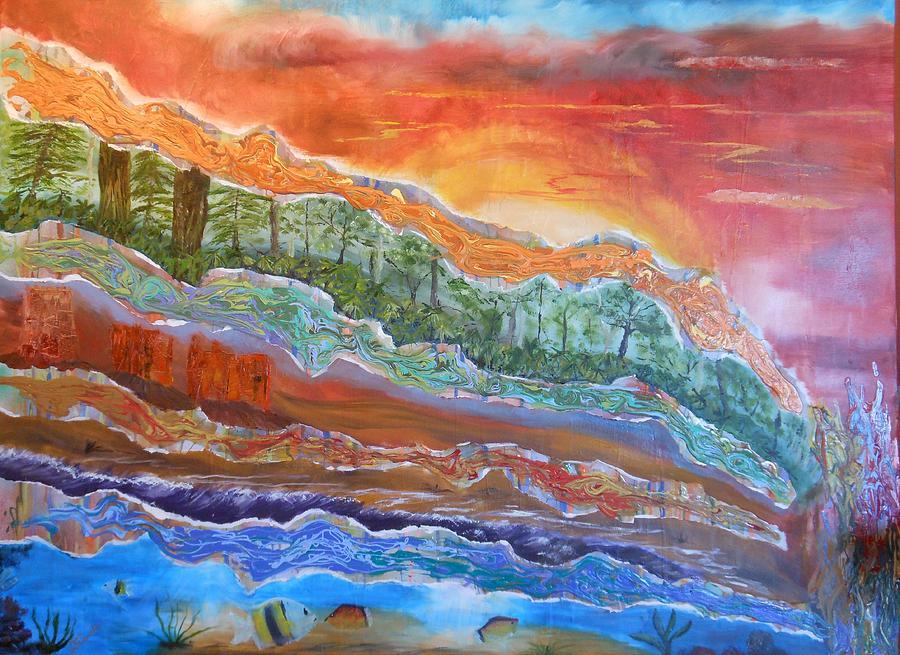 Sunset Painting - Earth Tones by Pam Halliburton