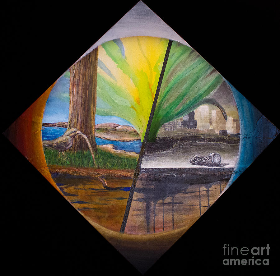 Earth Wind Fire Water And Humanity Painting By Robin