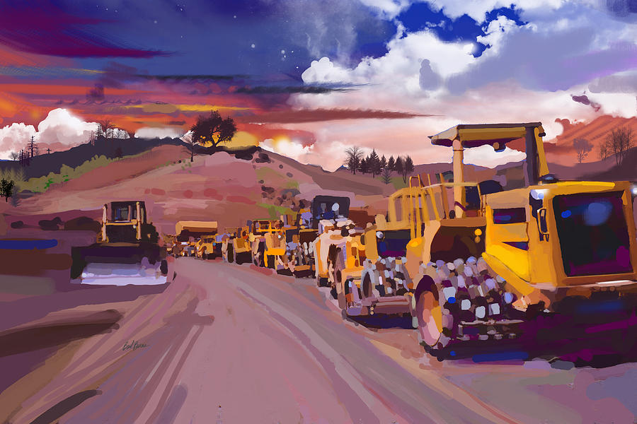 Bulldozers Painting - Earthmover Dawn by Brad Burns