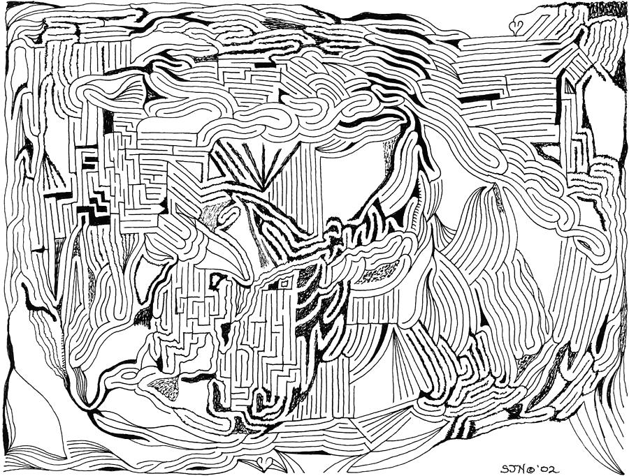 Mazes Drawing - Earthquake by Steven Natanson