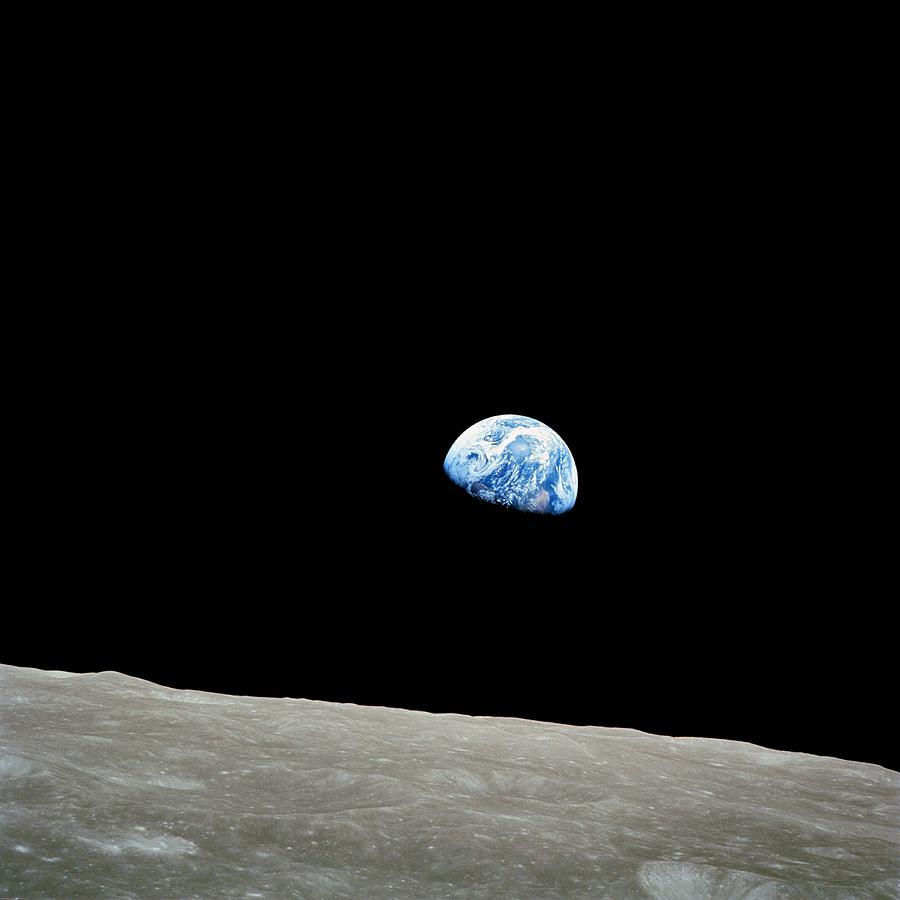 Earth Photograph - Earthrise Over Moon, Apollo 8 by Nasa