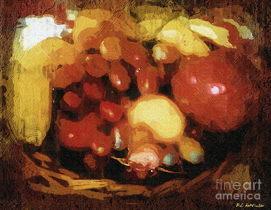 Basket Painting - Earthtone Fruit Fresco by RC DeWinter