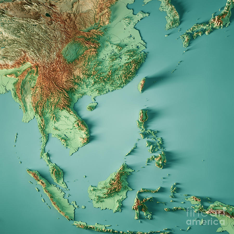 Map Of Asia 3d.East Asia 3d Render Topographic Map Color By Frank Ramspott