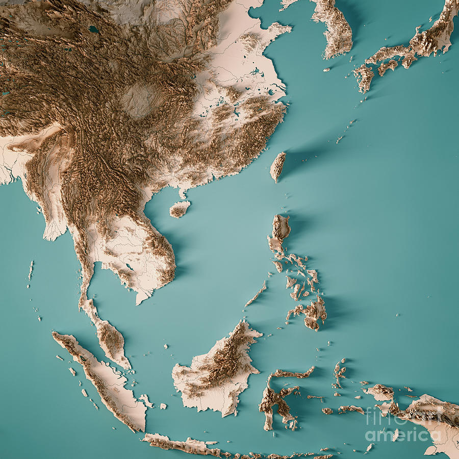 Topographic Map Asia.East Asia 3d Render Topographic Map Neutral Digital Art By Frank