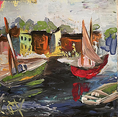 Boats Painting - East Coast by Mariam Qureshi