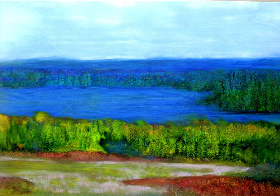 East Grand Lake Maine Painting by FeatherStone Studio Julie A Miller