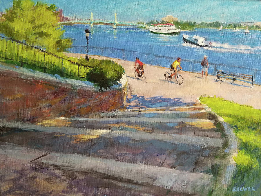 Landscape Painting Painting - East River From Carl Schurz Park by Peter Salwen
