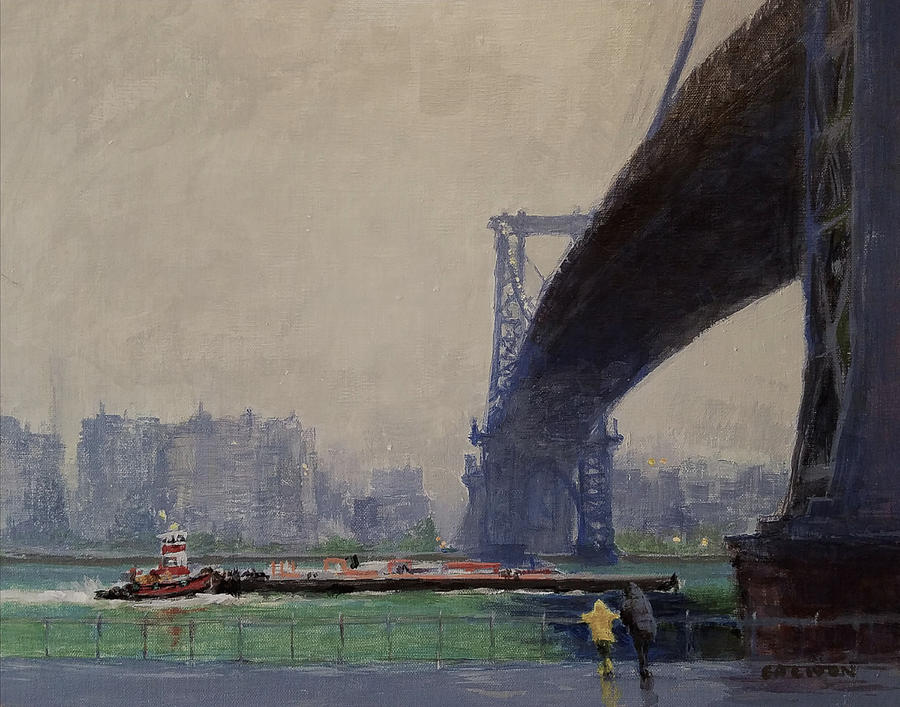 Urban Landscape Painting - East River Mist by Peter Salwen