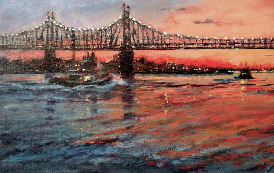 Urban Landscape Painting - East River Tugboats by Peter Salwen