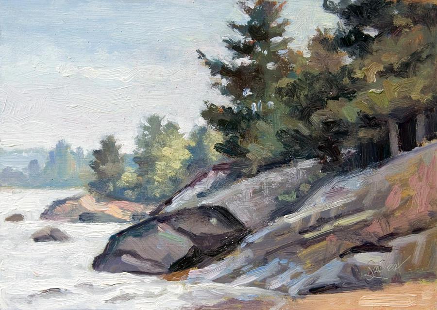 Plein Air Painting - East Shore Surfn Turf by Larry Seiler