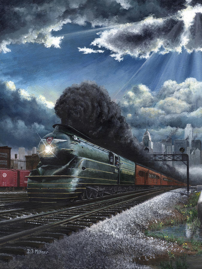 Train Painting - Eastbound Broadway Limited by David Mittner