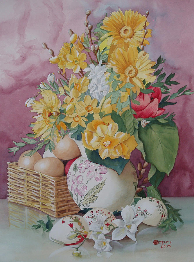 Basket Painting - Easter Bouqet by Charles Hetenyi