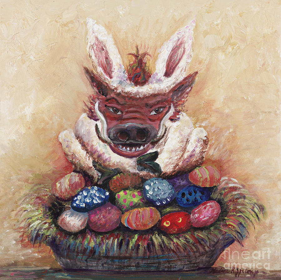 Easter Painting - Easter Hog by Nadine Rippelmeyer