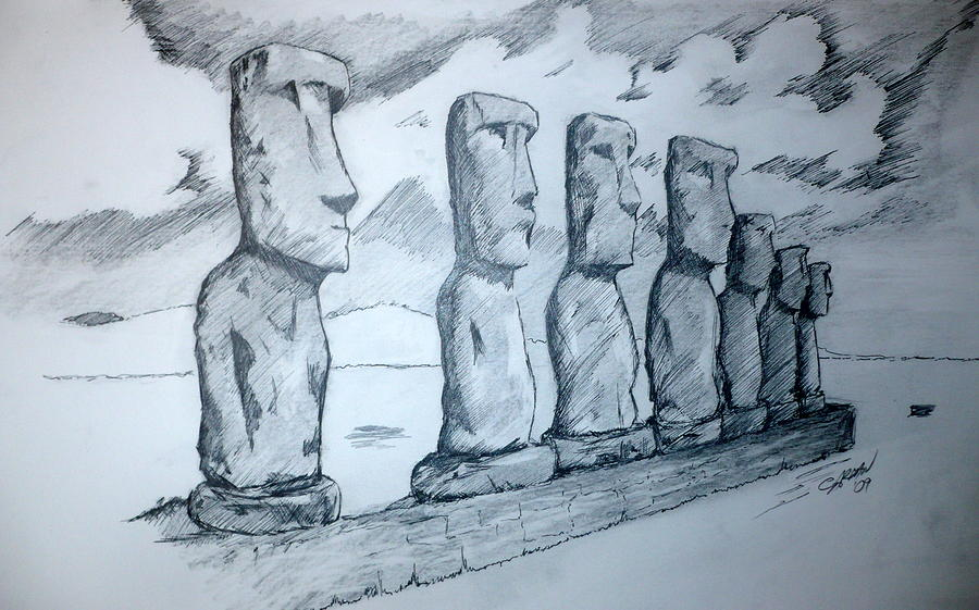 Line drawing easter : Easter island drawing by eric a carman sr