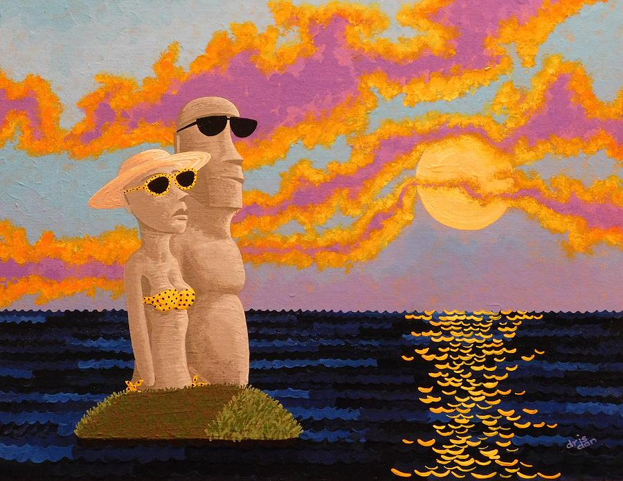 Moai Painting - Easter Island Sunset by Dan Driscoll