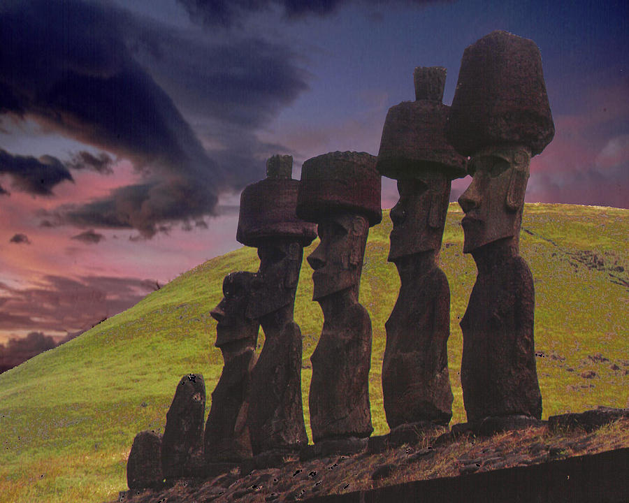 Photomontage Photograph - Easter  Island View by Barry Penchansky
