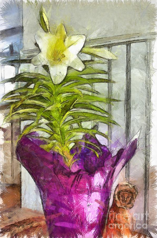 Lily Mixed Media - Easter Lily And Doll by Claire Bull
