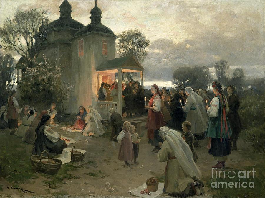 April Painting - Easter Matins by Nikolai Pimonenko