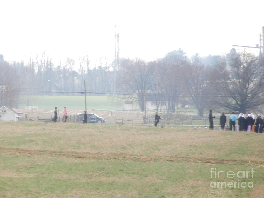 Amish Photograph - Easter Monday Volleyball Game by Christine Clark