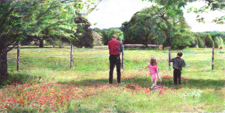 Landscape Drawing - Easter Morning In Paige by Joella Reeder
