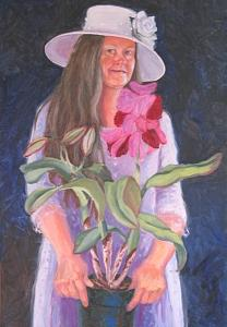 Easter Sunday Self Portrait With Lily Painting by Margie Guyot