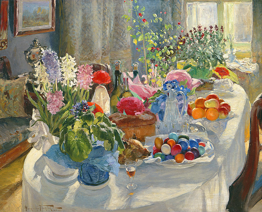 Easter Painting - Easter Table by Alexander Vladimirovich Makovsky