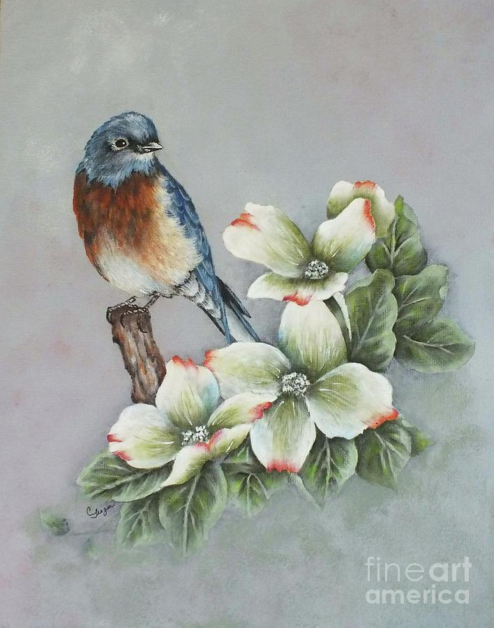 c43ad364766 Eastern Bluebird And Dogwood - Acrylic Painting Painting by Cindy ...
