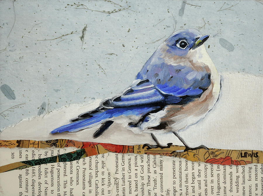 Juvenile Mixed Media - Eastern Bluebird by Anne Lewis