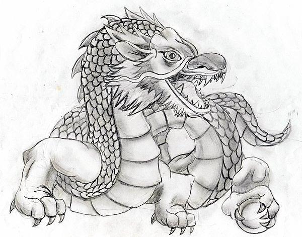 Eastern Dragon Drawing by Jessie